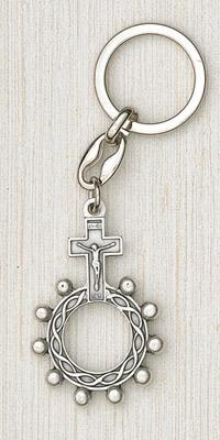 12-Pack - Silver Finger Rosary Keyring
