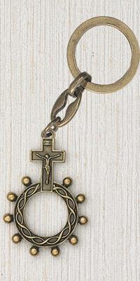 12-Pack - Brass Finger Rosary Keyring