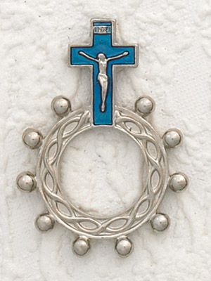 12-Pack - Blue Enamel  Finger Rosary