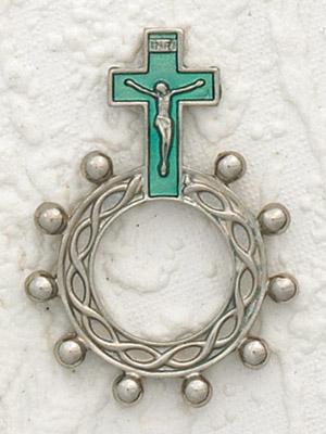 12-Pack - Green (Aqua) Enamel  Finger Rosary