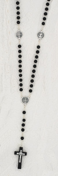 8mm St Ben Rosary Wood Black
