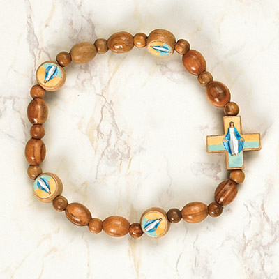 6-Pack - Miraculous Medal Wooden Bracelet