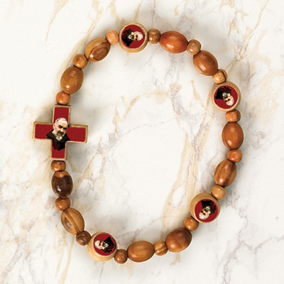 6-Pack - Padre Pio Wooden Cord Bracelet with enameled pictures of Padre Pio and 8mm beads