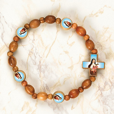 6-Pack - StTherese Wooden Cord Bracelet with enameled pictures of St Therese and 6mm beads