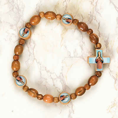 6-Pack - Immaculate Heart of Mary Wooden Cord Bracelet with enameled pictures and 6mm beads