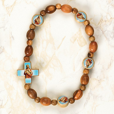 6-Pack - Sacred Heart of Jesus Wooden Cord Bracelet with enameled pictures and 6mm beads