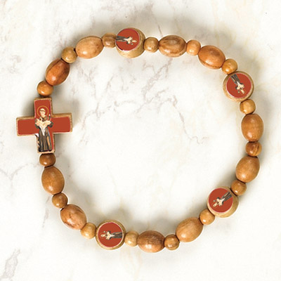 6-Pack - St Anthony Wooden Cord Bracelet with enameled pictures and 6mm beads