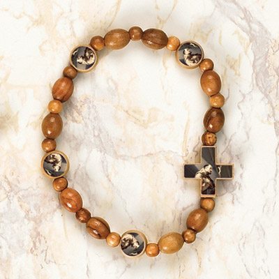 6-Pack - St Francis Wooden Cord Bracelet with enameled pictures and 6mm beads