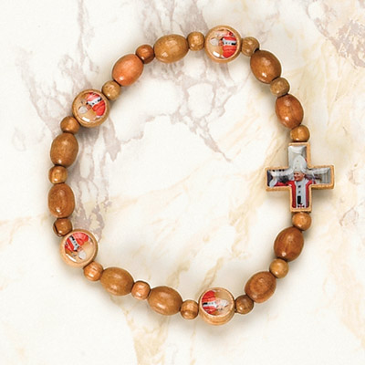 6-Pack - Pope John Paul II Wooden Cord Bracelet with enameled pictures and 6mm beads