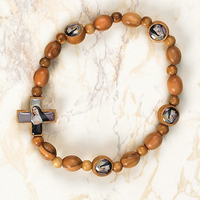 6-Pack - ST RITA - Wooden Cord Bracelet with enameled pictures and 6mm beads