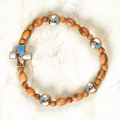 6-Pack - ST MICHAEL - Wooden Cord Bracelet with enameled pictures and 6mm beads