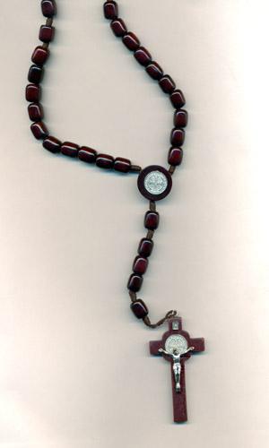 Brown Large St Benedict Premium Cord Rosary