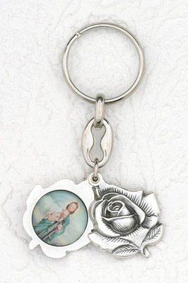 6-Pack - Sliding Petal Keyring with St Jude and Pray for Us