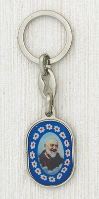 6-Pack - Padre Pio Murano Key Ring