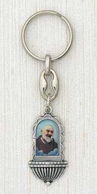 "6-Pack - 1-1/4"" Padre Pio Holy Water Font Key Ring"