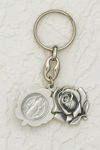 6-Pack - Sliding Petal Keyring with St Benedict Pendant