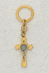 6-Pack - 2 Inch St Benedict Keyring  -  Gold / Silver