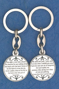 6-Pack - Footprints Prayer Coin Keyring