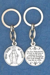 6-Pack - Miraculous Medal Prayer Coin Keyring