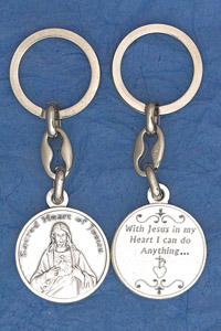 6-Pack - Sacred Heart Prayer Coin Keyring