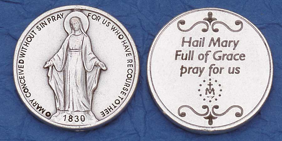25-Pack - Religious Coin Token - Miraculous Medal with Prayer