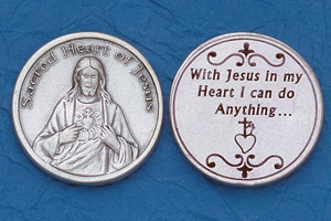 25-Pack - Religious Coin Token - Sacred Heart with Prayer