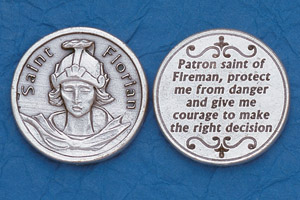 25-Pack - Religious Coin Token - St Florian with Prayer