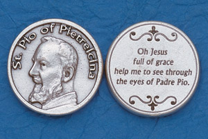 25-Pack - Religious Coin Token - St Padre Pio with Prayer