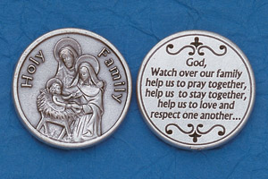 25-Pack - Religious Coin Token - Holy Family with Prayer