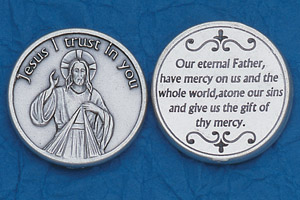 25-Pack - Religious Coin Token - Divine Mercy Coin with Prayer at