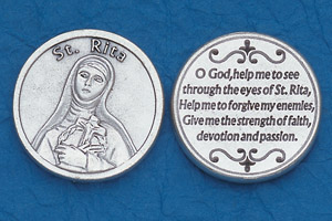 25-Pack - Religious Coin Token - St Rita with Prayer