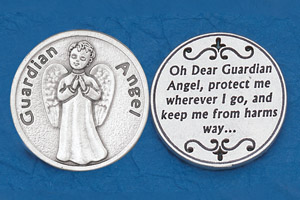 25-Pack - Religious Coin Token - Guardian Angel- Keep me from harms way-