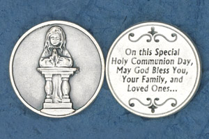 25-Pack - Coin- Girl Kneeling- On this Special Holy Communion