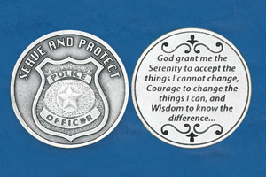 25-Pack - Religious Coin Token - Policeman's Serenity Prayer - Serve and Protect