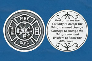 25-Pack - Religious Coin Token - Fireman's Serenity Prayer- Fireman's Insignia on Front