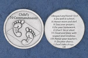25-Pack - Religious Coin Token - Child's 10 Commandments