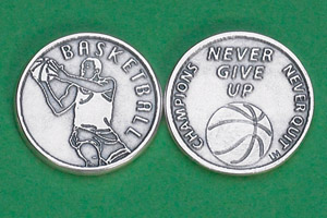 25-Pack - Sports Token with Basketball Player- Never Give Up, Champions Never Quit