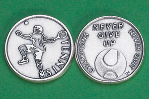 25-Pack - Sports Token with Tennis - Never Give Up, Champions Never Quit