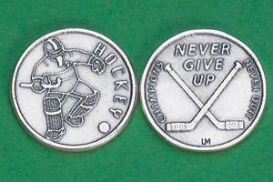 25-Pack - Sports Token with Hockey Player- Never Give Up, Champions Never Quit