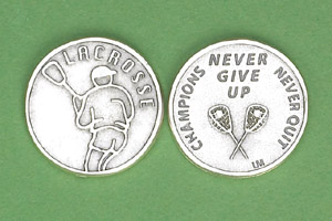 25-Pack - Sports Token with Lacrosse - Never Give Up, Champions Never Quit