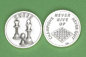25-Pack - Sports Token with Chess- Never Give Up, Champions Never Quit
