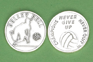 25-Pack - Sports Token with Volleyball - Never Give Up, Champions Never Quit