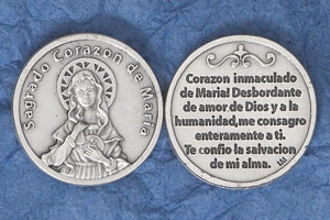 25-Pack - Silver Plated Token - Spanish Sogrado Corazon de Maria