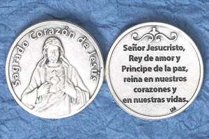 25-Pack - Silver Plated Token - Spanish Sagrado Corazon de Jesus