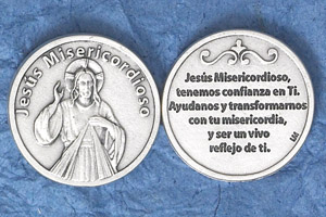 25-Pack - Silver Plated Token - Spanish Jesus Misericordioso