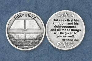 25-Pack - But Seek First His Kingdom (Matthew 6:33) - Silver Plated