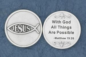25-Pack - With God All Things are Possible (Matthew 19:26) - Silver Plated