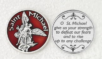 12-Pack - Red Enameled St Michael Token with Prayer