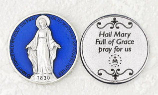 12-Pack - Blue Enamel Miraculous Token with Prayer