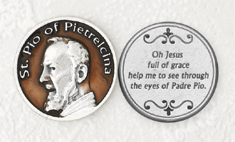12-Pack - Brown Enameled Padre Pio Token with Prayer Silver Plated